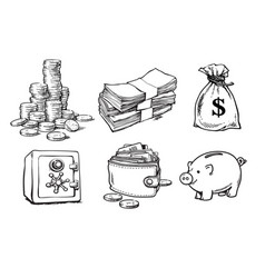 Finance money set sketch vector