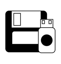 floppy disk and drive flash copying data vector image