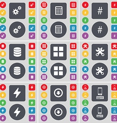 Gear Calculator Hashtag Database Apps Wrench Flash vector