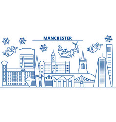 great britain manchester winter city skyline vector image