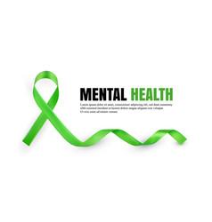 green mental health awareness symbolic ribbon vector image