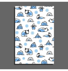 Greeting card template with cute cartoon polar vector