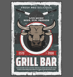 grill bar retro poster bull head and beef vector image