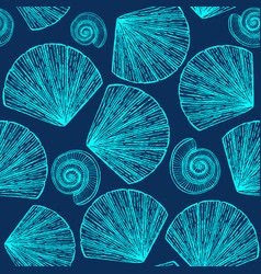 hand drawn background with seashells vector image