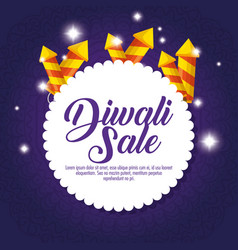 happy diwali sale with fireworks vector image
