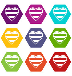 heart lgbt icon set color hexahedron vector image