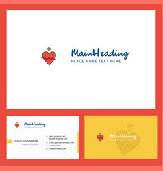heart rate logo design with tagline front and vector image