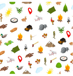 hiking in a park concept seamless pattern vector image
