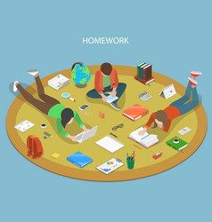 Homework flat isometric concept vector