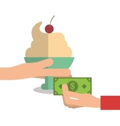 Ice cream of fast food concept vector