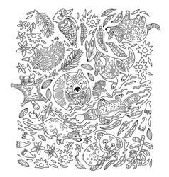 ink set decorative australian animals vector image
