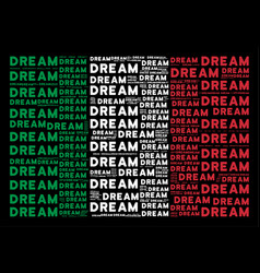 Italy flag pattern of dream word items vector