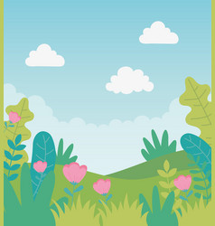 landscape flowers foliage sky nature greenery vector image