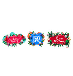 large set christmas greeting and discounts web vector image