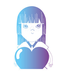 Line avatar girl with hairstyle and heart design vector