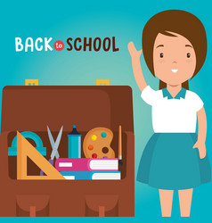 little girl with school supplies vector image