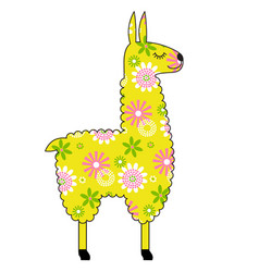 Llama with yellow floral pattern vector