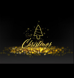 Luxury black and gold background with golden bokeh vector