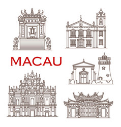 macau travel landmarks asian architecture icons vector image
