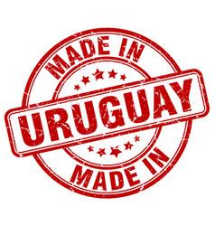 Made in uruguay red grunge round stamp vector