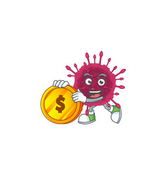 Mascot cartoon covid19 showing one finger gesture vector