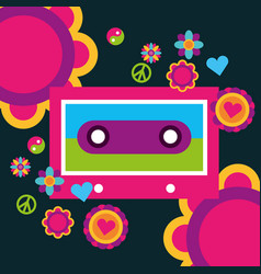 music cassette flowers peace love heart free vector image