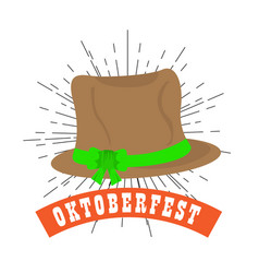 oktoberfest label with traditional hat icon vector image