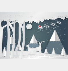 paper art style snowflake and deer for christmas vector image