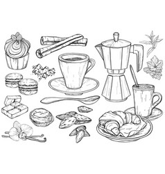 party pastry cakes and sweets icons hand drawn vector image