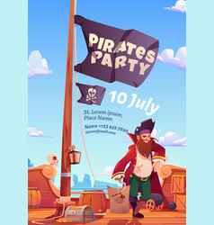 Pirate party flyer with wooden ship deck and flag vector