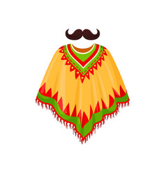 Poncho and moustache symbols of mexico vector