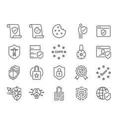 privacy policy icon set vector image