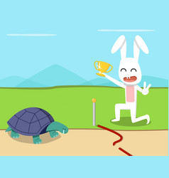 Rabbit wins the turtle in the race design vector