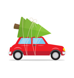 red car with a christmas tree on the roof vector image