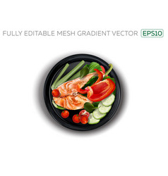 Red fish with vegetables on a black plate vector