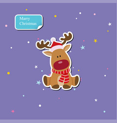 reindeer child sitting in christmas red hat vector image