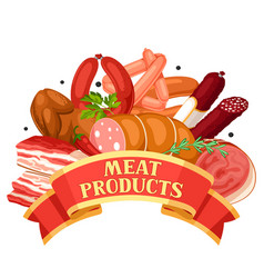 ribbon with meat products of vector image