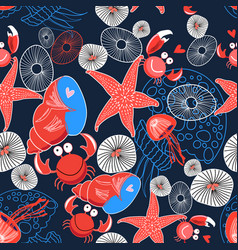 seamless graphic marine pattern enamored crabs vector image