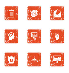 Secondary school icons set grunge style vector