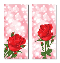 Set of beautiful cards with red roses vector