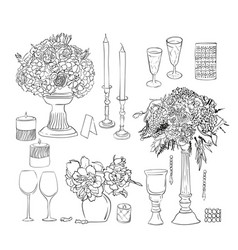 set of wedding decorations and objects ink vector image