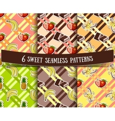 Set Sweets Striped Backgrounds vector image