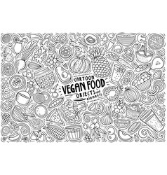 set vegan food theme items objects and vector image