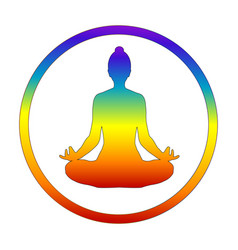 Silhouette yogi in lotus position in chakra vector
