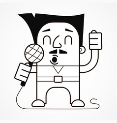 Singer with microphone in hands vector