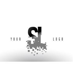 Sl s l pixel letter logo with digital shattered vector