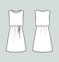 sleeveless summer dress front and back views vector image