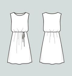 Sleeveless summer dress front and back views vector