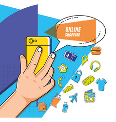 smartphone with shopping online icons pop art vector image