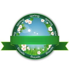 Spring flowers label vector image
